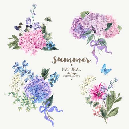 ビンテージ花のベクトル ブーケ アジサイと庭の花の植物自然紫陽花図白のセットです。水彩風の夏花アジサイ グリーティング カード