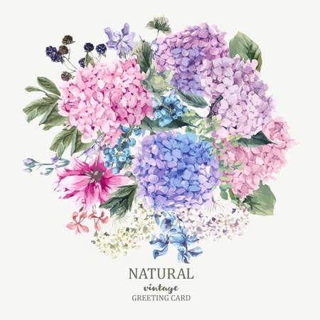 Tarjeta de felicitación floral del verano con el Hydrangea floreciente y flores de jardín, botánico hortensias naturales Ilustración en blanco en el estilo de la acuarela.
