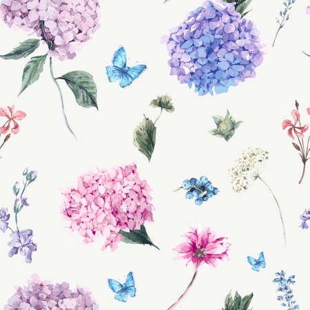 Zomer Vintage naadloze bloemmotief met bloeiende Hydrangea hortensia en tuin bloemen, botanische natuurlijke hortensia illustratie op wit in aquarel stijl. Stock Illustratie