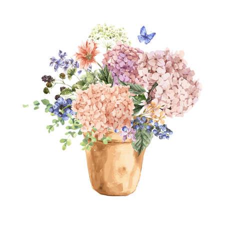 Sommer-Weinlese Blumengruß-Karte mit blühendem Hydrangea und Blumen im Garten, in einem Blumentopf in Aquarell-Stil. Vektorgrafik