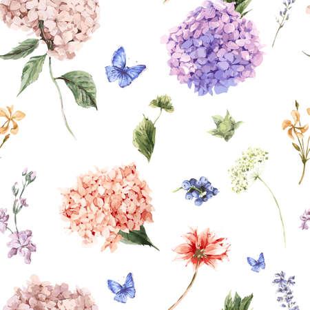 여름 빈티지 꽃 피는 수국와 정원의 꽃, 수채화 스타일의 화이트 식물 자연 수국 그림 원활한 패턴입니다.