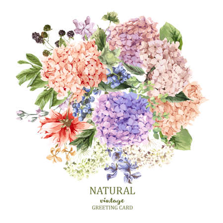 Summer Vintage Floral Greeting Card with Blooming Hydrangea and garden flowers, botanical natural hydrangea Illustration on white in watercolor style. Ilustracja