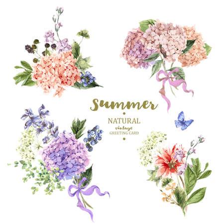 Set van vintage floral vector boeket van bloeiende hortensia en tuin bloemen, de botanische natuurlijke hortensia Illustratie op een witte. Zomer bloemen hortensia wenskaart in aquarel stijl Stockfoto - 59810551