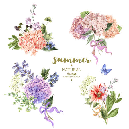 Set of vintage floral vector bouquet of blooming hydrangea and garden flowers, botanical natural hydrangea Illustration on white. Summer floral hydrangea greeting card  in watercolor style