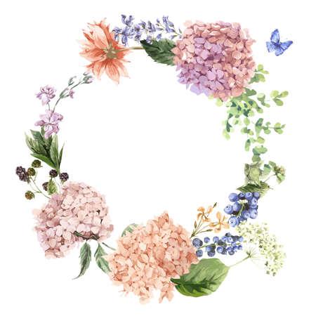 Summer Vintage Bloemen Groet krans met Blooming Hydrangea en tuin bloemen, de botanische natuurlijke hortensia Illustratie op wit in aquarel stijl.