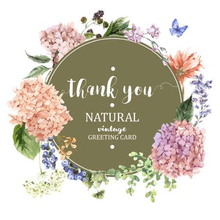 Estate Vintage Floral Greeting Card con Blooming Hydrangea e fiori da giardino, grazie botanico ortensia naturale Illustrazione su bianco in stile acquerello.