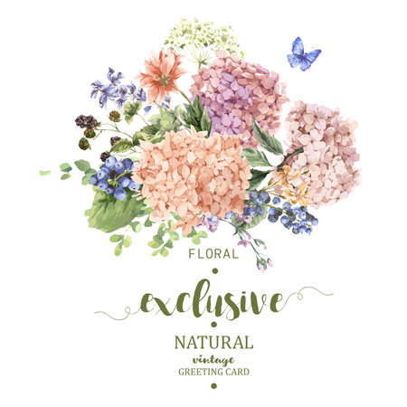 Summer Vintage Floral Greeting Card with Blooming Hydrangea and garden flowers, botanical natural hydrangea Illustration on white in watercolor style. Иллюстрация