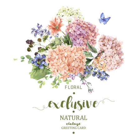 Wenskaart zomer Vintage Bloemen met bloeiende Hydrangea en tuin bloemen, de botanische natuurlijke hortensia Illustratie op wit in aquarel stijl.