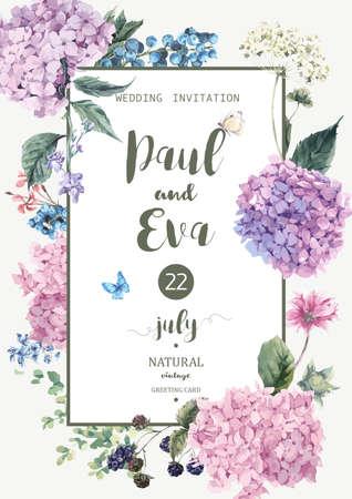 Vintage floral Vektor Hochzeitseinladung, mit blühendem Hydrangea und Gartenblumen, botanische natürliche Hortensie Illustration. Sommer Blumen Hortensien Grußkarte in Aquarell-Stil.