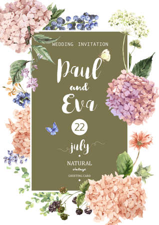 Vintage floral vector wedding invitation with Blooming Hydrangea and garden flowers, botanical natural hydrangea Illustration. Summer floral hydrangeas greeting card in watercolor style. Zdjęcie Seryjne - 59810544