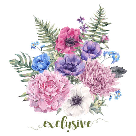 Summer vintage floral greeting card with blooming anemones, peony, chrysanthemum, ferns, wild and garden flowers, botanical natural anemone Illustration on white in watercolor style. Çizim