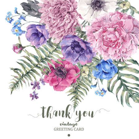 Summer vintage floral greeting card with blooming anemones, peony, chrysanthemum, ferns, wild and garden flowers, botanical natural anemone Illustration on white in watercolor style. Vettoriali