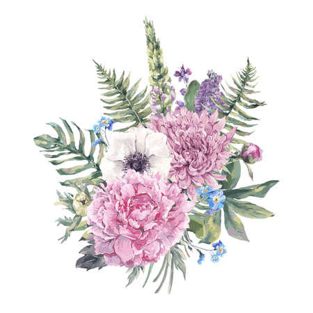 ferns: Summer vintage floral greeting card with blooming anemones, peony, chrysanthemum, ferns, wild and garden flowers, botanical natural anemone Illustration on white in watercolor style. Illustration