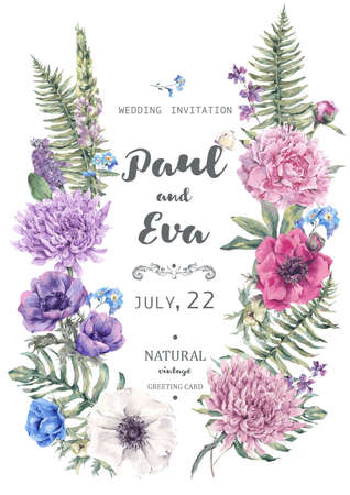 Vintage floral vector wedding invitation with wreath of anemones, peony, chrysanthemum, ferns and wildflowers, botanical natural anemones Illustration.