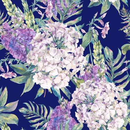 flower leaf: Gentle watercolor seamless pattern with a bouquet of phlox, lupine, fern leaves with garden and wild flowers, botanical natural watercolor illustration on navy blue background