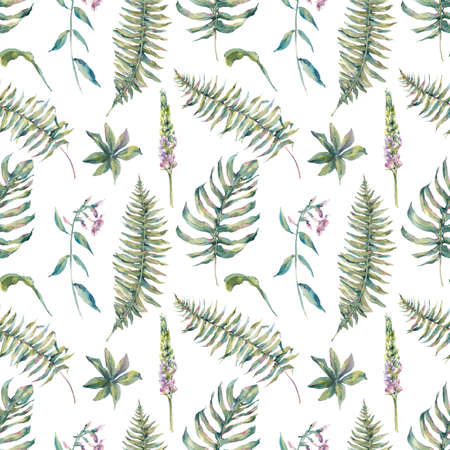 Tropical watercolor leaf seamless pattern with ferns and flowers lupine, botanical natural watercolor illustration on white background