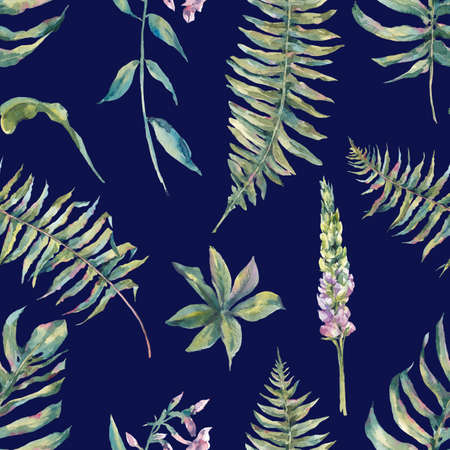 ferns: Tropical watercolor leaf seamless pattern with ferns and flowers lupine, botanical natural watercolor illustration on navy blue background Stock Photo