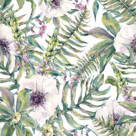 ferns: Tropical watercolor leaf seamless pattern with ferns and flowers lupine, anemones, botanical natural watercolor illustration on white background