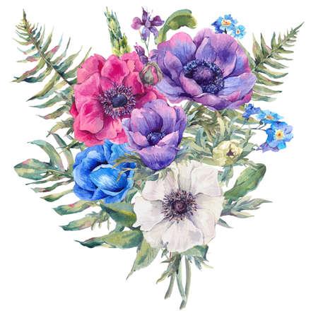 acuarela del verano tarjeta de felicitación floral de la vendimia con las anémonas en flor, las hojas del helecho, jardín y flores silvestres, botánicos naturales anémona aislados ilustración en blanco