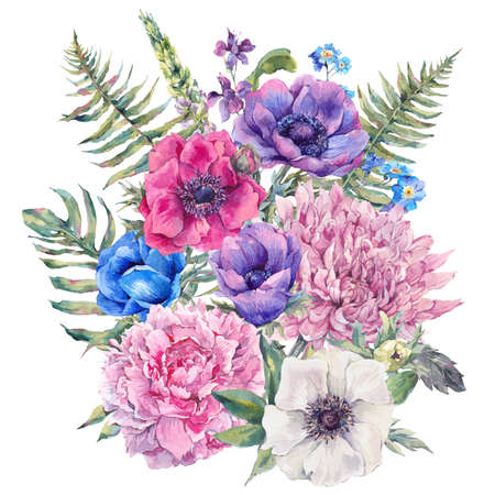 isolated: Summer watercolor vintage floral greeting card with blooming anemones, peony, chrysanthemum, ferns, wild and garden flowers, botanical natural anemone Illustration isolated on white