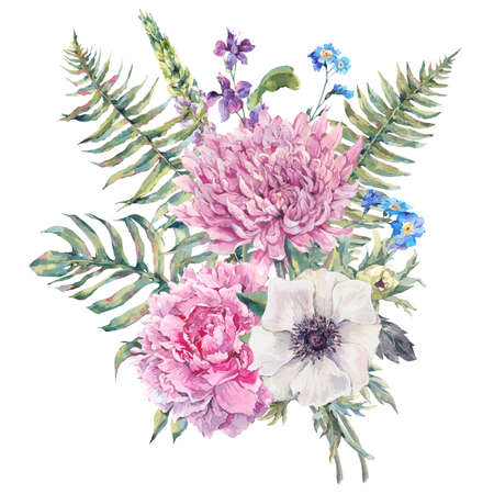 anemone: Summer watercolor vintage floral greeting card with blooming anemones, peony, chrysanthemum, ferns, wild and garden flowers, botanical natural anemone Illustration isolated on white