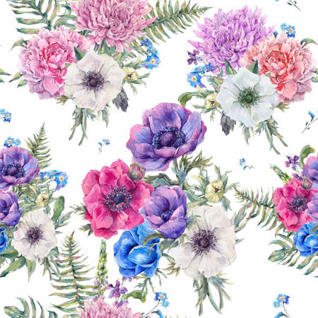 anemones: Summer watercolor vintage floral seamless pattern with blooming anemones, peony, chrysanthemum, ferns, wild and garden flowers, botanical natural anemone Illustration