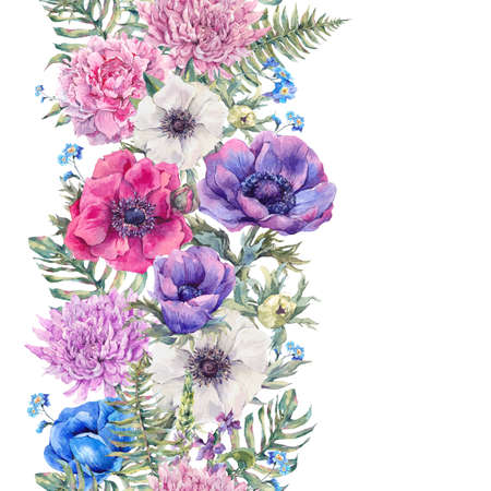 anemones: Summer watercolor vintage floral seamless border with blooming anemones, peony, chrysanthemum, ferns, wild and garden flowers, botanical natural anemone Illustration Stock Photo