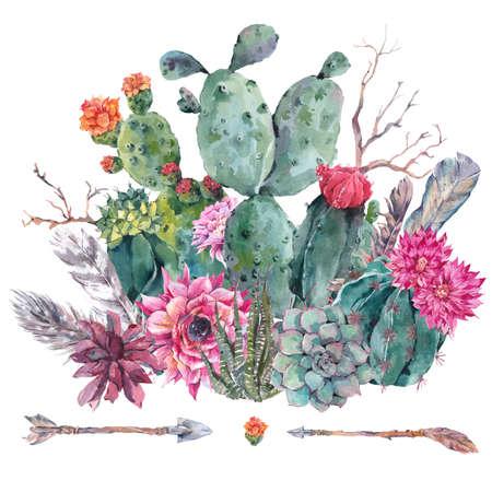 Exotische natuurlijke vintage waterverf boeket in boho stijl. Cactus, succulent, bloemen, takken, veren en pijlen. Botanische geïsoleerde karakter cactus Illustratie op een witte Stockfoto