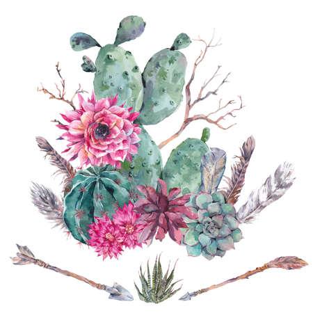 보헤미안 스타일의 이국적인 자연 빈티지 수채화 꽃다발입니다. 선인장, 즙, 꽃, 나뭇 가지, 깃털과 화살표입니다. 화이트 식물 고립 된 자연 선인장 그