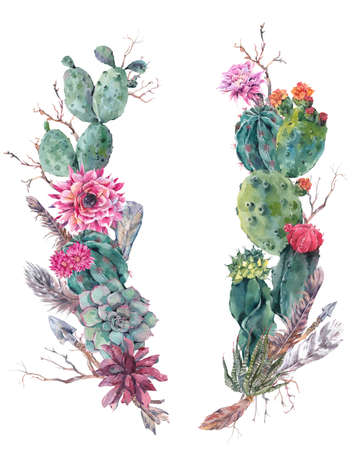 Watercolor Exotic Flower Summer Greeting Card, Vintage wreath of flowers bouquet with cactus, succulent, flowers, twigs, feathers and  arrows.  floral botanical decoration in boho style Archivio Fotografico