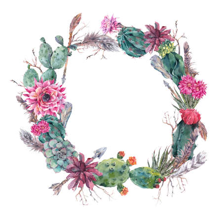 Watercolor Exotic Flower Summer Greeting Card, Vintage wreath of flowers bouquet with cactus, succulent, flowers, twigs, feathers and  arrows.  floral botanical decoration in boho style Stock Photo