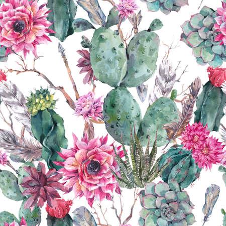 보헤미안 스타일의 이국적인 자연 빈티지 수채화 원활한 패턴입니다. 선인장, 즙, 꽃, 나뭇 가지, 깃털과 화살표입니다. 화이트 식물 고립 된 자연 선인