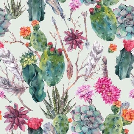 Exotic natural vintage watercolor seamless pattern in boho style. Cactus, succulent, flowers, twigs, feathers and  arrows. Botanical isolated nature cactus Illustration