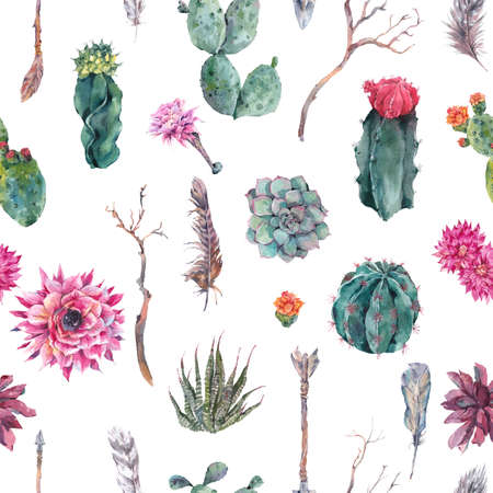 Exotic natural vintage watercolor seamless pattern in boho style. Cactus, succulent, flowers, twigs, feathers and  arrows. Botanical isolated nature cactus Illustration Фото со стока - 60771866