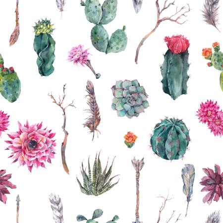 Exotische natuurlijke vintage waterverf naadloos patroon in boho stijl. Cactus, succulent, bloemen, takken, veren en pijlen. Botanische geïsoleerde karakter cactus Illustratie