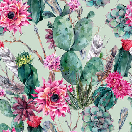 succulent: Exotic natural vintage watercolor seamless pattern in boho style. Cactus, succulent, flowers, twigs, feathers and  arrows. Botanical isolated nature cactus Illustration