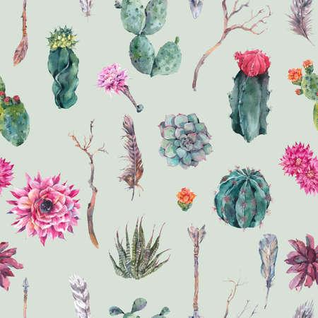 보헤미안 스타일의 이국적인 자연 빈티지 수채화 원활한 패턴입니다. 선인장, 즙, 꽃, 나뭇 가지, 깃털과 화살표입니다. 식물 고립 된 자연 선인장 그림