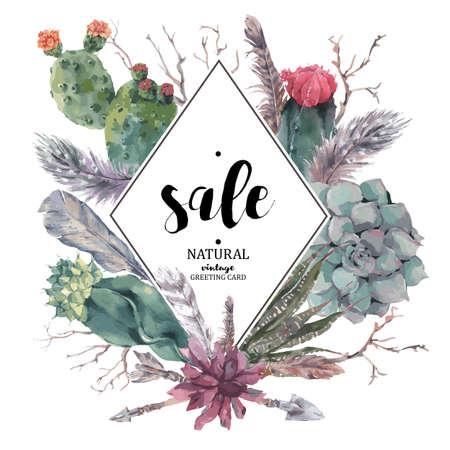 Tarjeta de la venta de la vendimia con ramas, suculentas, cactus, flechas y plumas en el estilo boho