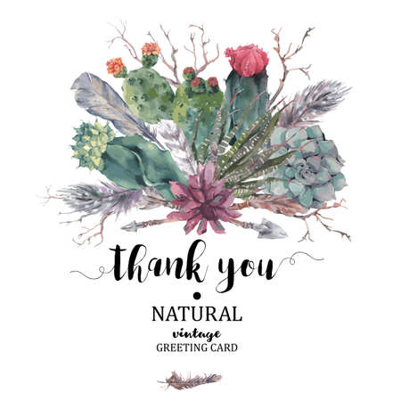 Summer vintage Thank You card with branches, succulent, cactus, arrows and feathers in boho style