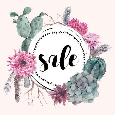 Tarjeta de la venta de la vendimia con ramas, suculento, cactus y plumas en el estilo boho