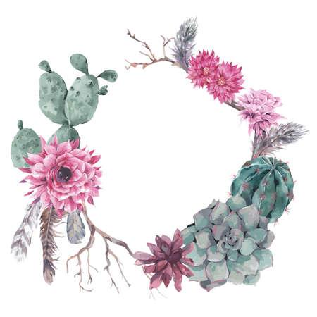 Lato archiwalne kwiatu wieniec z gałęzi, soczyste, kaktus i piór w stylu boho