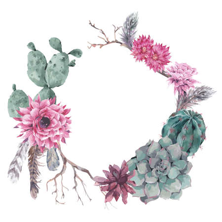 Summer vintage floral wreath with branches, succulent, cactus and feathers in boho style