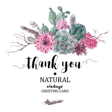 Summer vintage Thank You card with branches, succulent, cactus and feathers in boho style Vectores