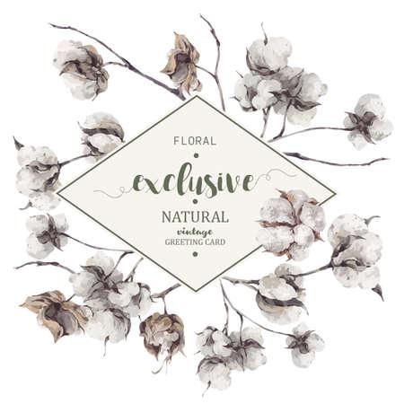 Ramo vintage de ramitas y flores de algodón. Ilustraciones botánicas Tarjeta de felicitación. Ilustración de vector
