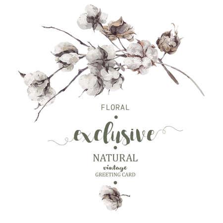 小枝と綿の花のヴィンテージの花束。植物のイラスト。グリーティング カード。