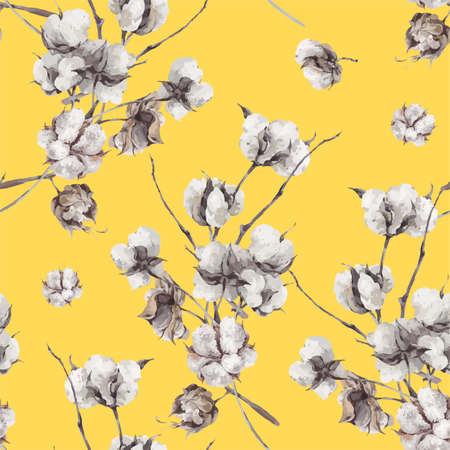Vintage bouquet of twigs and cotton flowers. Botanical illustrations. Seamless pattern on yellow background.