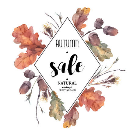 Autumn vintage bouquet of twigs, yellow oak leaves and acorns. Botanical illustrations. Sale card. Isolated on white background