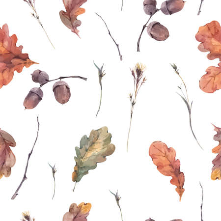 oak: Autumn vintage bouquet of twigs, yellow oak leaves and acorns. Botanical watercolor seamless pattern