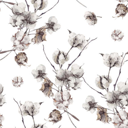 cotton bud: Vintage bouquet of twigs and cotton flowers. Botanical illustrations. Seamless pattern.