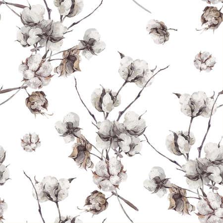 Vintage bukiet z gałązek i kwiatów bawełny. ilustracje botaniczne. Szwu.
